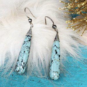 Turquoise Sterling CFJ Vtg Cone Dangle Earrings